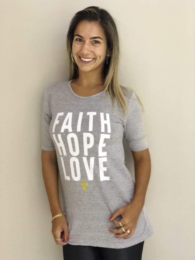 Camiseta FAITH LOVE HOPE na internet