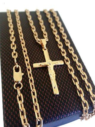 Corrente Cartier 3mm + Pingente Crucifixo Folheados a Ouro 18k ... 3b9407ad63