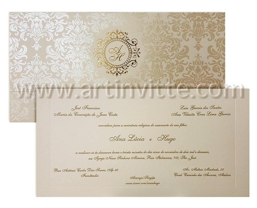 Convite De Casamento Clássico Carteira Ct 020 100 Convites