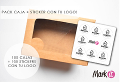 PACK X 100 CAJAS 30x20x10 CARTULINA KRAFT+ 100 STICKERS 7 CM CON TU LOGO