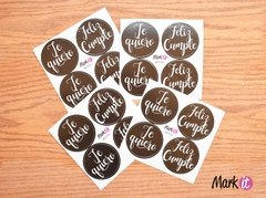PACK 84 STICKERS 7 CM CON FRASES - (TE QUIERO Y FELIZ CUMPLE) en internet