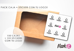 PACK X 100 CAJAS 23X16X8 CARTULINA KRAFT + 100 STICKERS 4 CM CON TU LOGO