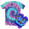 Kit Camiseta e Chinelo Tie Dye 028