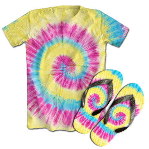 Kit Camiseta e Chinelo Tie Dye 040