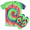 Kit Camiseta e Chinelo Tie Dye 041