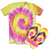 Kit Camiseta e Chinelo Tie Dye 044