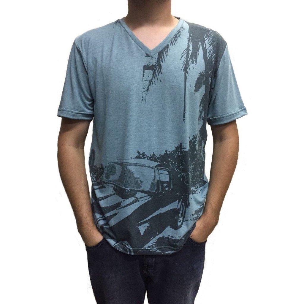 bb70b83aa Camiseta gola v carro e coqueiros