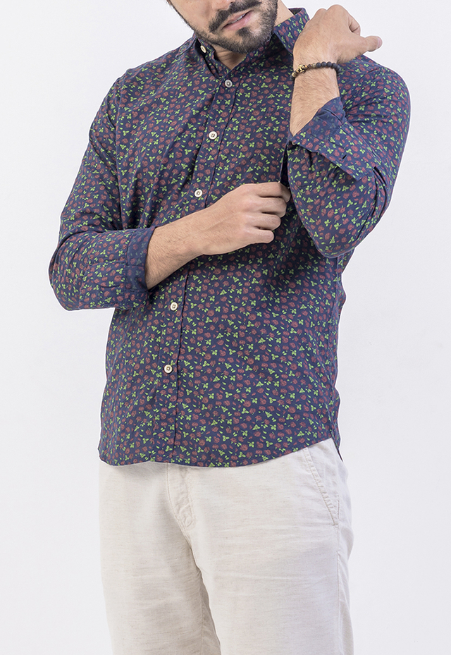 CAMISA ML VOIL FLORAL AZUL
