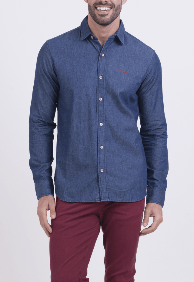 CAMISA JEANS WON ASSINATURA JEANS ESCURO - comprar online