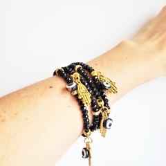 Mix de Pulseiras Cristais Amuletos - Preto na internet