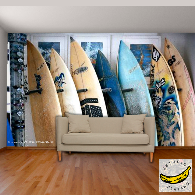 Mural Pared - Vinilo Mate o Empapelado - Tablas Surf Shop