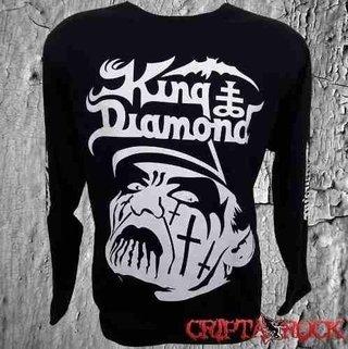 Camiseta Manga Longa Rock King Diamond Estampa Branca (sinc)