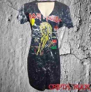 Vestido Gola V Malha Tie Dye Rock Iron Tamanho M (sinc)