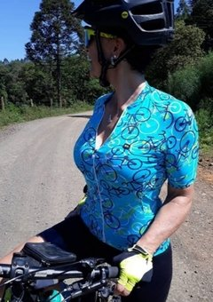 Camisa de Ciclismo Feminina Márcio May Funny Bikes Light Blue na internet