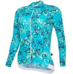 Camisa de Ciclismo Feminina Manga Longa Márcio May Funny Colorful Light Blue