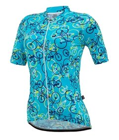 Camisa de Ciclismo Feminina Márcio May Funny Colorful Bikes Light Blue