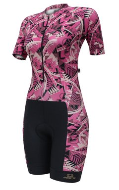 Macaquinho de Ciclismo Feminino Márcio May Slim Fit Bike Cherry
