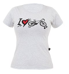 Camiseta Casual Feminina Márcio May Sports I Love Bike Mescla