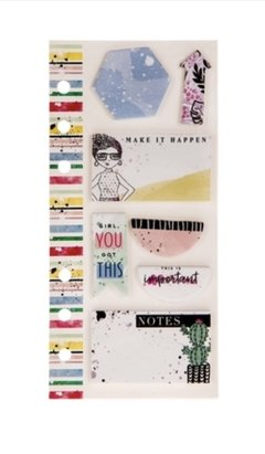 Watercolor Stripes Girl Sticky Notes Personal
