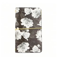 Large Dark Glamor Black & White Floral Journal