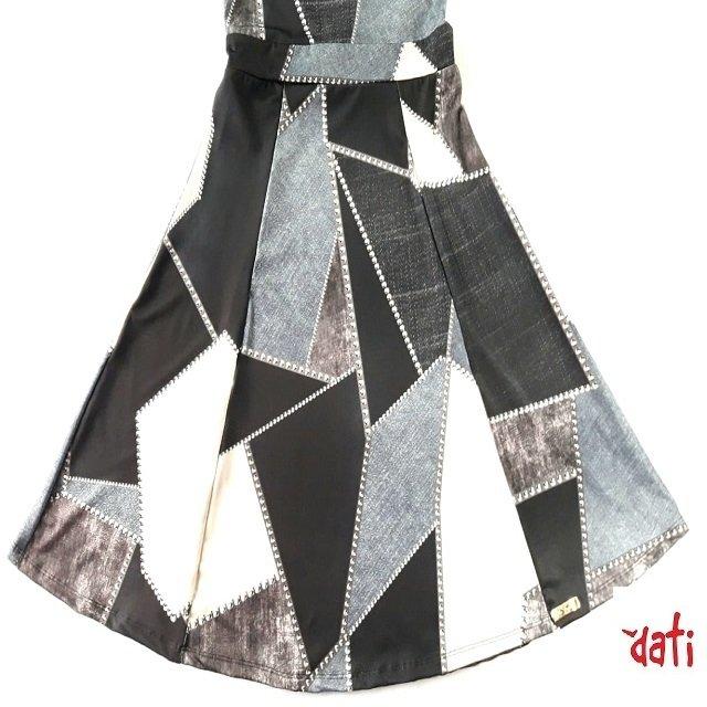 dd2a968a4 ... comprar online Vestido Feminino Cinza Evasê Geométrico na internet ...
