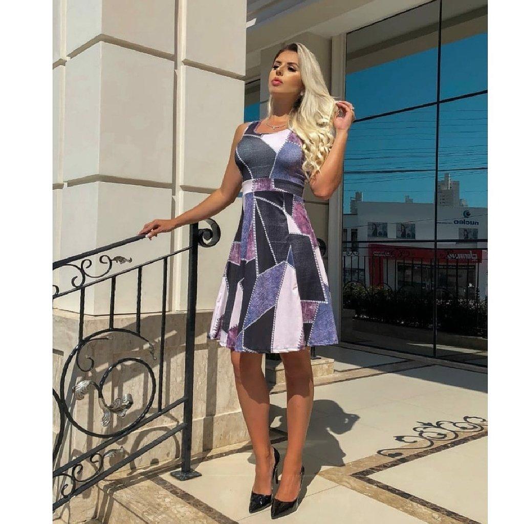 2d945e5ca Vestido Evazê Curto Lilas Evangelico moderno