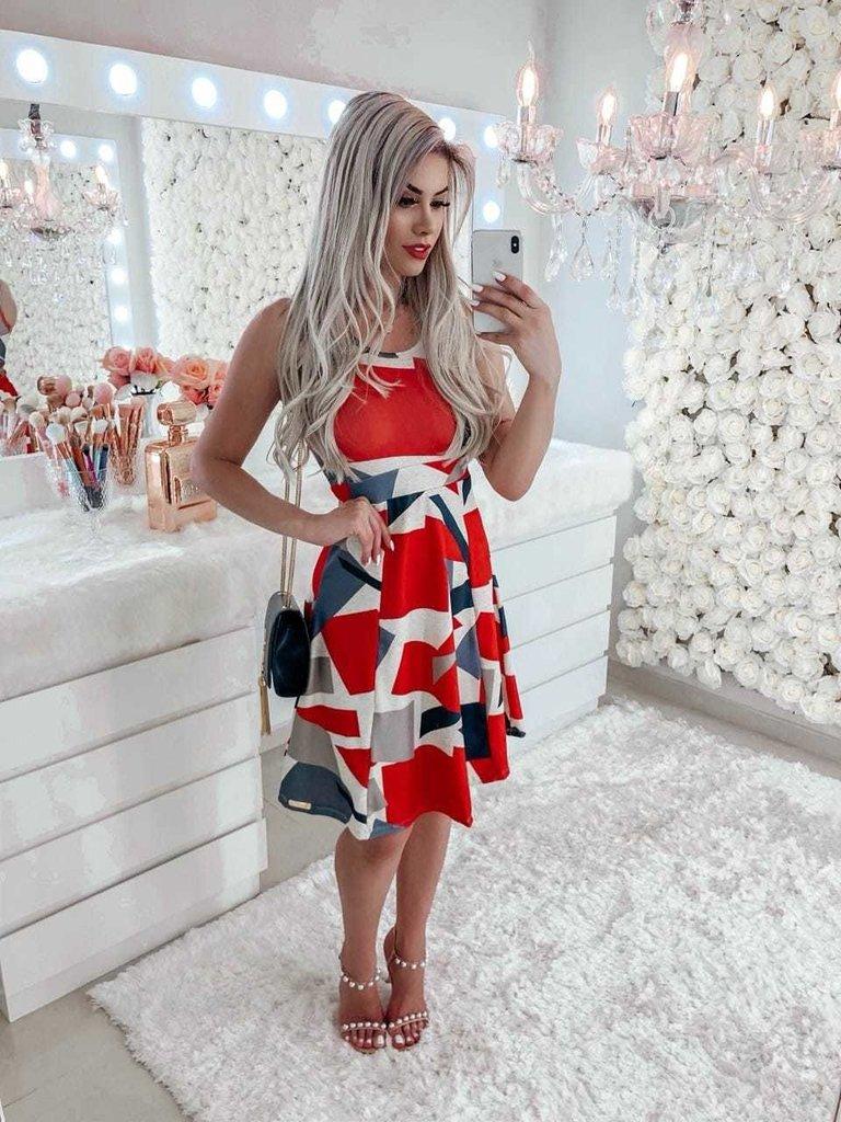 e799b3556 Vestido Feminino Geométrico Vermelho Evasê