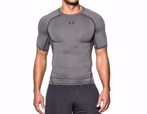 Remera Under Armour Heatgear Compression / Gris-negro - comprar online
