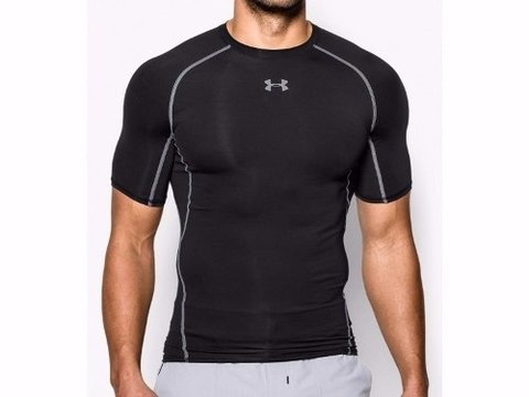 Remera Under Armour Heatgear Compression / Gris-negro - Greek Deportes