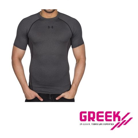 Remera Under Armour Heatgear Compression / Gris-negro