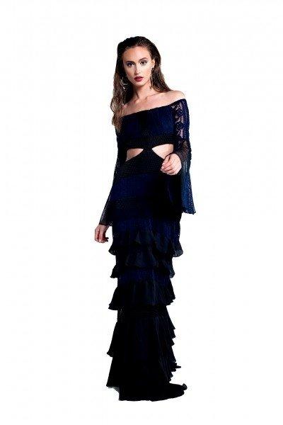 ... comprar-vestido-longo-azul-manga-longa-recorte-usado- ... a0ed45683e