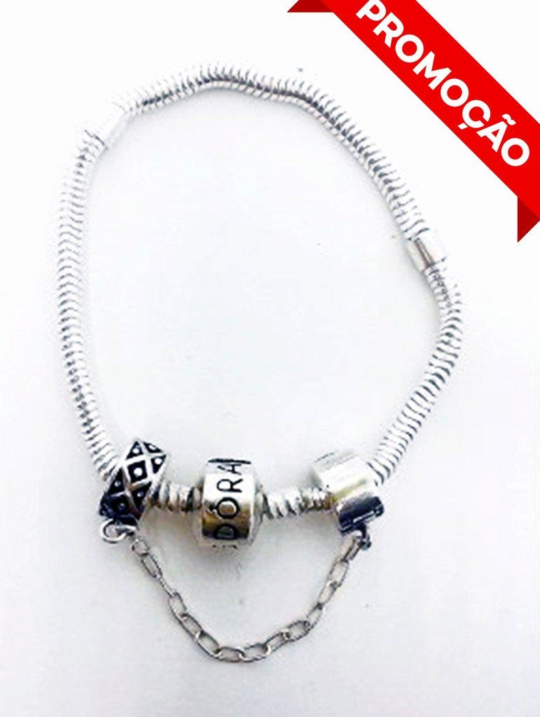 cb8decc5c Pulseira + Trava Estilo Pandora Prata925 Original Promoção