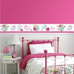 Vinilo Decorativo Guarda Pajaritos Y Casitas Rosa Pastel