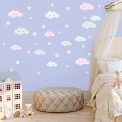 Vinilo Decorativo Kit Nubes Y Estrellas Pastel en internet