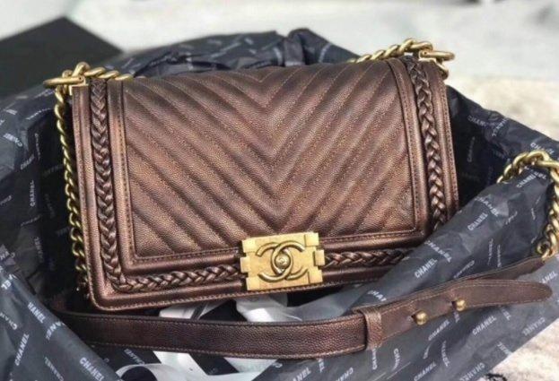 82a5eb52ce86 Chanel Chevron Patinated Calfskin Boy Braided Old Medium Flap Bag A67086  Brown 2018 (KS-7121608 )