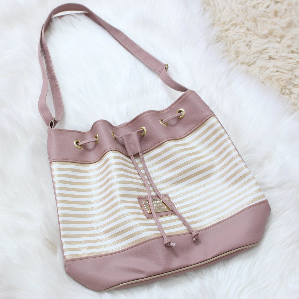 d0f707421 Bolsa Estilo Saco Rose Com Branco - Amor A Modas