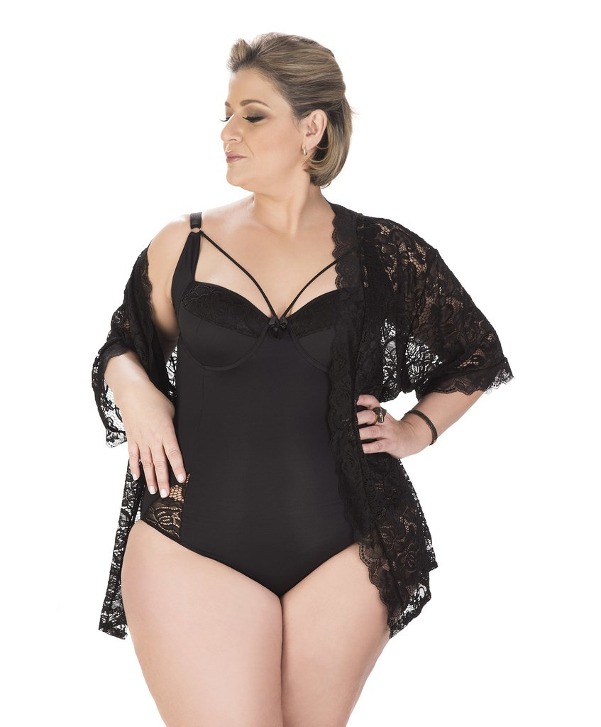 827a8e4a7 Conjunto Lingerie Plus Size Super Luxo (Body e Robe) - Preto