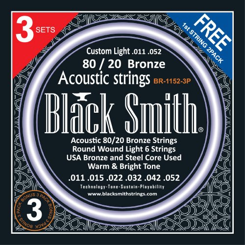 Black Smith BR-1152-3P Custom Light .011 - .052 - Pack com 3 encordoamentos p/ Violão