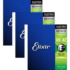 Kit c/ 3 Encordoamentos Elixir Optiweb (.009 - .042) para Guitarra