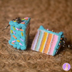 Rebanaditas de Pastelito Arcoiris | Rainbow Cake | Aretes | Earrings | Collares