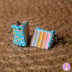 Rebanaditas de Pastelito Arcoiris | Rainbow Cake | Aretes | Earrings | Collares - buy online