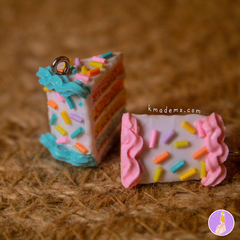 Rebanaditas de Pastelito Arcoiris | Rainbow Cake | Aretes | Earrings | Collares on internet