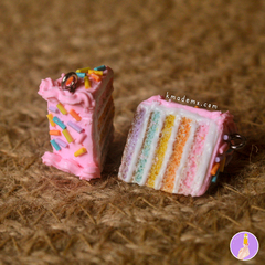 Rebanaditas de Pastelito Arcoiris | Rainbow Cake | Aretes | Earrings | Collares - K-MADE