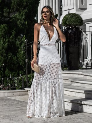 Vestido Longo de Renda Martha - Off White na internet