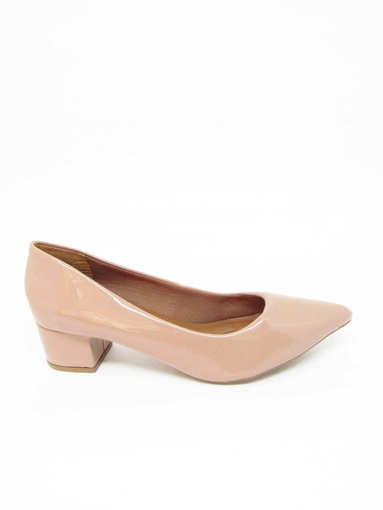 0d75f7b2d Sapato Feminino Social Salto Baixo Quadrado Nude