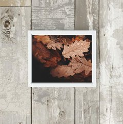 quadro brown autumn leaves moldura branca