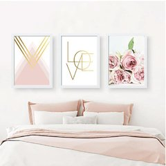 Trio de quadros decorativos - Love flowers rose
