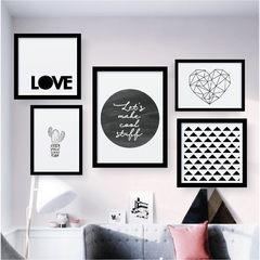 Kit de quadros - Love Black and white