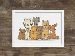 quadro dogs and love moldura branca