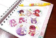 Set De 8 Stickers Circulares De No Game No Life